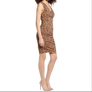 NWT Leith Ruched Sleeveless Leopard Minidress XS